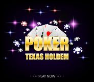 Internet casino banner with glowing lamps for online casino, poker, card games, texas holdem. Poker poster with chips stock illustration