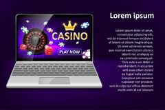 Internet casino marketing template with laptop, dice, poker, roulette wheel and casino chips. Web poker and gambling royalty free illustration