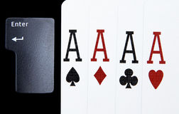 Internet casino poker four of kind aces cards combination hearts Royalty Free Stock Photography