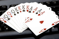Internet casino poker four of kind aces cards combination hearts Royalty Free Stock Image