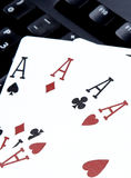 Internet casino poker four of kind aces cards combination hearts Royalty Free Stock Images