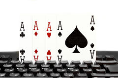 Internet casino poker four of kind aces cards combination hearts Stock Photography
