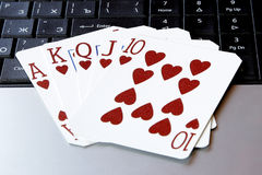 Internet casino poker royal flush cards combination hearts Royalty Free Stock Photography