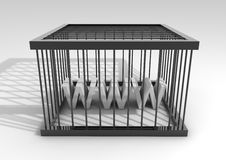 Internet censorship. 3d render of a cage with www inside(conceptual image for censorship Royalty Free Stock Photography
