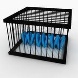 Internet censorship. 3d render of a cage with www inside(conceptual image for censorship Stock Photography
