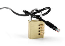 Internet censorship concept - padlock with cable Stock Photography