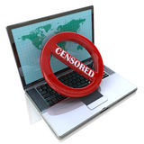 Internet censorship. word Censored displayed on the screen Stock Photos