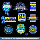 Internet certification award banner. Collection of internet certification award banner for Black backgrounds royalty free illustration