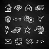 Internet chalkboard icons Royalty Free Stock Photo