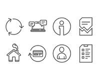 Internet chat, Recycling and Avatar icons. Refund commission, Corrupted file and Checklist signs. Set of Internet chat, Recycling and Avatar icons. Refund Royalty Free Stock Image