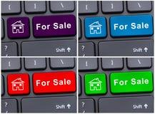 Internet che vende proprietà con il bottone della tastiera Immagine Stock
