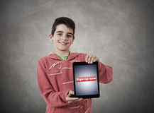 Internet. Child holding the tablet with access signal Stock Photography