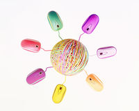 Internet Clew With Colored Mouses Stock Images