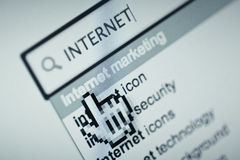 Internet. Close up of computer generated screen with browser showing related search Stock Image