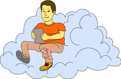 Internet In The Cloud. Young man checks his tablet while he sits in a cloud Royalty Free Stock Images