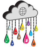 Internet cloud with application icon raindrops Stock Image