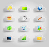 Internet cloud icons set Stock Photography