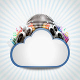 Internet cloud with music sharing. Music icon on top of cloud mean music sharing Stock Image