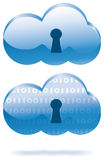 Internet cloud security. Secure internet computing cloud icons with keyholes Royalty Free Stock Images