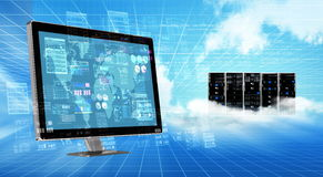 Internet cloud  Server Concept. An internet cloud server computer doing data processing and calculating Royalty Free Stock Photography