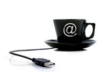 Internet coffee. Conceptual background work -  Internet coffee Stock Image