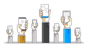 Internet communication and activity, people hands holding phones and using apps, global network, modern communication, messenger vector illustration