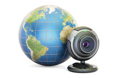 Internet communication concept, Earth globe with webcam. 3D rend Stock Photography