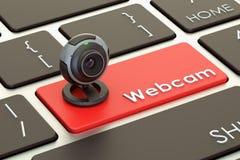 Internet communication concept, webcam on keyboard button. 3D re. Internet communication concept, webcam on keyboard button. 3D Royalty Free Stock Photography