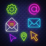 Internet communication neon signs collection stock photos
