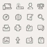 Internet communication and social media line icon set Stock Photos