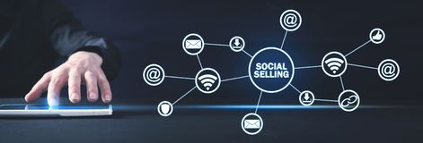Internet, communication, technology. Concept of social selling royalty free stock photos