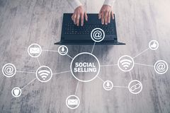 Internet, communication, technology. Concept of social selling stock photos