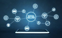 Internet, communication, technology. Concept of social selling royalty free stock photography