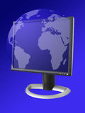 Internet Communication Theme. A illustration of a globe coming out of a monitor Royalty Free Stock Image