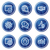 Internet communication web icons, blue buttons Royalty Free Stock Photography