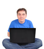 Internet Computer Man Sitting on White Stock Photography