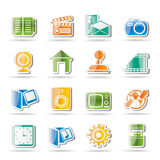 Internet, Computer and mobile phone icons Stock Photos