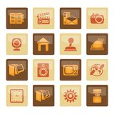 Internet, Computer and mobile phone icons over brown background. Vector icon set stock illustration