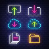 Internet and computer neon signs collection stock photos