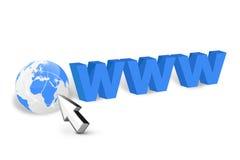 Internet con il cursore del mouse Fotografia Stock