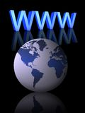 Internet concept (01). Www and world globe on a white background Royalty Free Stock Image