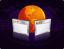 Internet concept. Browser windows with globe illustration over abstract techno background vector illustration