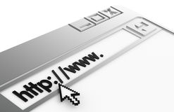 Internet Concept. Chrome. Chrome Browser Window. Cursor Arrow Royalty Free Stock Image