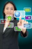 Internet concept. Business woman hand pressing internet icon Stock Image