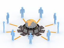 Internet concept. Lot of man connected to internet Stock Illustration