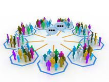 Internet concept. People sharing information via internet Vector Illustration