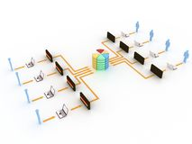 Internet concept. People connected to database and internet with control of an adminstrator Stock Illustration