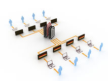 Internet concept. People connected to database and internet with control of an administrator Stock Illustration