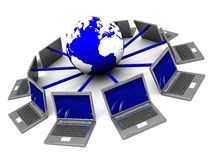 Internet concept. 3d illustration of laptop network around earth globe Royalty Free Stock Photography