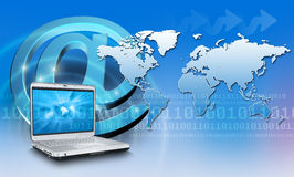 Internet Concept Background. With World Map Royalty Free Stock Photos